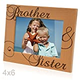 picture frame sisters - Kate Posh - Brother & Sister Engraved Natural Wood Picture Frame, Siblings Gifts, Christmas Gifts, Wedding Gifts, Little Sister, Little Brother, Big Sister, Big Brother (4x6-Horizontal)