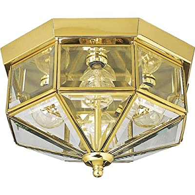 Progress Lighting P5789-10 Close-to-Ceiling, 12-Inch Diameter x 7-Inch Height, Brass - STUNNING GEOMETRIC DESIGN: Create a décor look you love with the Beveled Glass Collection's Three-Light Close-to-Ceiling light fixture ideal for any foyer, hallway, porch, or patio in traditional settings CLEAR BEVELED GLASS PANES: Clear beveled glass panes in square and triangular shapes join for a dazzling shade ready to offer ambient overhead lighting GOLDEN POLISHED BRASS FINISH: A stunning octagonal frame constructed from a solid brass material is coated in a breathtaking polished brass finish - kitchen-dining-room-decor, kitchen-dining-room, chandeliers-lighting - 511x%2BJn4c1L. SS400  -