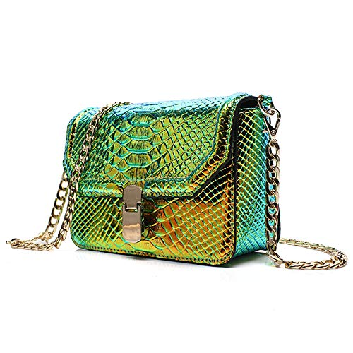Remeehi Hologram Snake Skin Leather Shoulder Bag Crossbody Bag with Chain (Hologram Green)