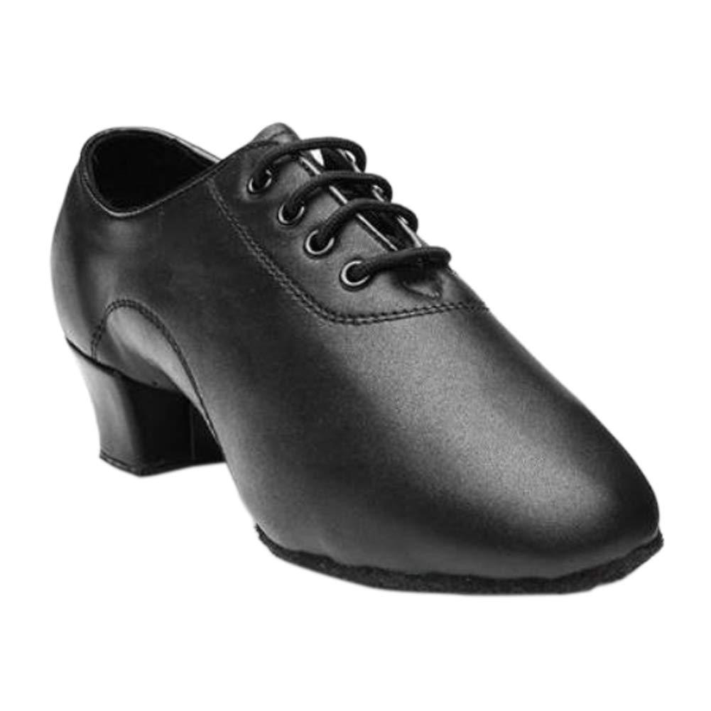 Fosheng Soft Latin Dance Lace Shoes Suede Sole Faux Leather Boots for Men Boys