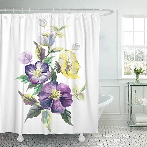 - Emvency Shower Curtain Set Waterproof Adjustable Polyester Fabric Purple Rose Watercolor Floral Flower on White Yellow Abstract Beautiful Blossom 66 x 72 Inches Set with Hooks for Bathroom
