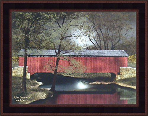 Primitive Framed Art (Warm Summer's Eve by Billy Jacobs 15x19 Red Covered Bridge Night Full Moon Reflection River Stream Primitive Folk Art Framed Picture)