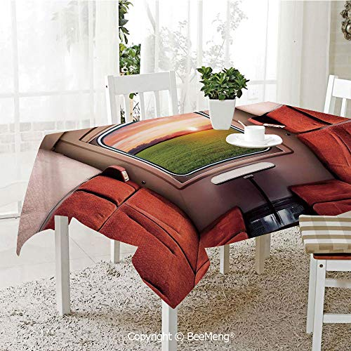Large dustproof Waterproof Tablecloth,Family Table Decoration,House Decor,Fresh Nature Setting from Train Compartment Window Railroad Destination Travel Image,Red Green Cream,70 x 104 ()