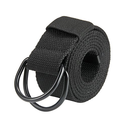 Faleto Mens 51 inch Double D-Ring Canvas Web Belt Casual Stripe or Solid Pattern,Black D Ring-Solid - Belt Loop Adjustable