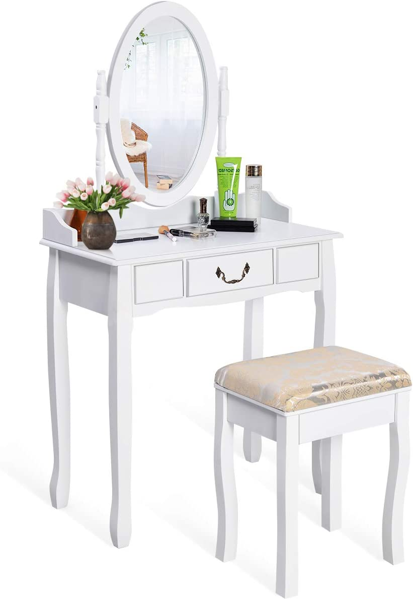 Giantex White Vanity Table Set with Stool, Dressing Table for Girls Women Mirror Makeup Table Desk Room Vanity Dresser, Large Bedroom Vanities w Drawer