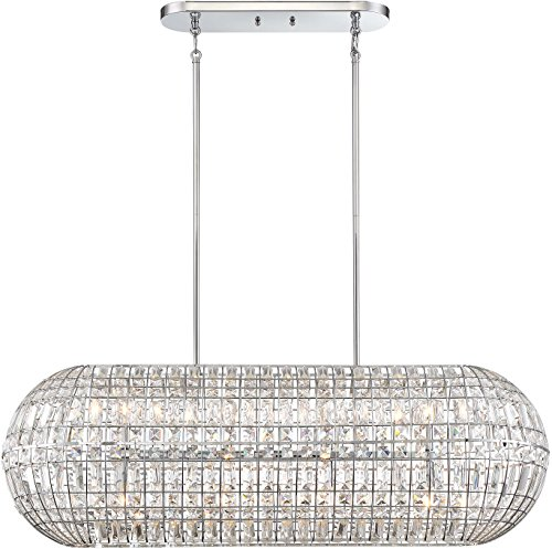 Minka Lavery Crystal Island Chandelier Pendant Lighting 2388-77 Palermo Dining Room Fixture, 8-Light 480 Watts, Chrome