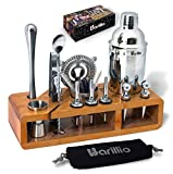 Elite 23-Piece Bartender Kit Cocktail Shaker Set by BARILLIO: Stainless Steel Bar Tools With Sleek Bamboo Stand, Velvet Carry Bag & Recipes Booklet | Ultimate Drink Mixing Adventure