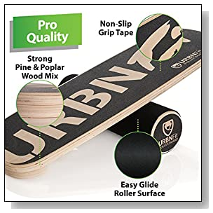 URBNFit Balance Board Trainer - Roller Board for Exercise, Athletic Training and Board Sports - Fun Workout Equipment for Balance, Stability and Improving Core Strength - Free Workout Guide Included