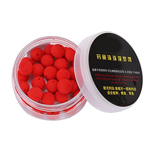 T-best 30pcs 10/12mm Smell Carp Fishing Bait Foam Pop Up Soft Pellets Boilies Eggs/Floating Ball Beads Feeder Artificial Carp Baits Lure/Hair Rig (12MM-Red strawberry flavor)