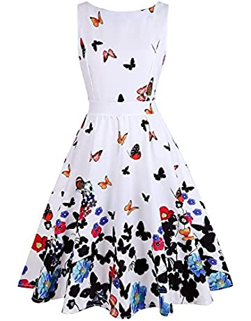 198202bed312 OWIN Women s Floral 1950s Vintage Swing Cocktail Party Dress with Butterfly  Pattern