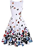 OLADY Womens BoatNeck Sleeveless Vintage Fit and Flare Rockabilly Floral Dress