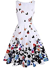 OWIN Women's 1950s Vintage Floral Swing Party Cocktail Dress with Butterfly Pattern