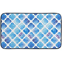"""Chef Gear 18"""" x 30"""" Anti-Fatigue Faux Leather 'Watercolor Clover' Kitchen Mat"""