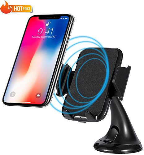 Price comparison product image Wireless Car Charger Mount Holder for iPhone X / 8 / 8 Plus - Samsung Galaxy S9 / S9+ / S8 / S8+ / S7 Edge / Note 8 / 5 and All Qi Enabled Phones