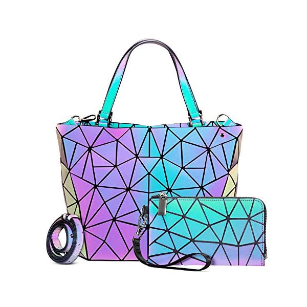 Geometric Luminous Purses and Handbags for Women Holographic Reflective Bag Backpack...