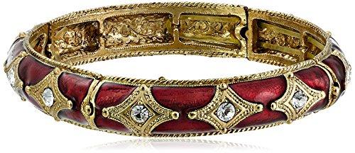1928 Jewelry Gold-Tone Dark Raspberry Enamel with Crystal Accent Stretch Bracelet, (Enamel Crystal Stretch Bracelet)