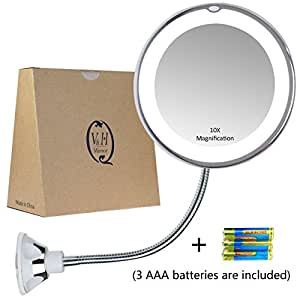 gooseneck magnifying mirror with light 10x magnification bathroom vanity mirror. Black Bedroom Furniture Sets. Home Design Ideas