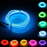 jiguoor EL Wire with Battery Pack 16.4ft/ 5M Super Bright Light Neon Tube Neon Glowing strobing of 360 Degrees of Illumination for Party Decoration (Blue,16.4ft/ 5M)