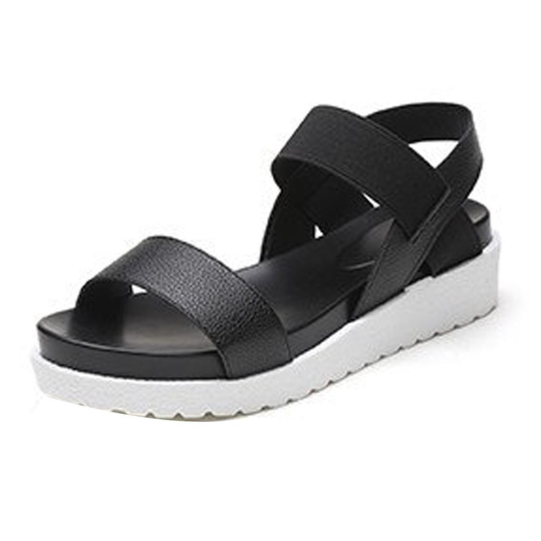 Platform Sandals Thick Bottom Women Wedge Flats Shoes Slippers Flip Flops Beach Sandals (US:8.5, Black)