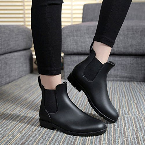 High Women's Boots Short Black Winter Rain Booties Slip Ladies Design Elastic On Ankle wCxCqYrt6