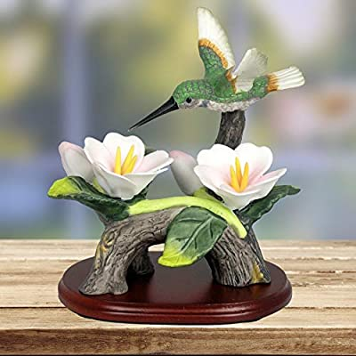 BANBERRY DESIGNS Hummingbird Figurine Porcelain with Pink Flowers with Separate Wood Base 4.5 Inch