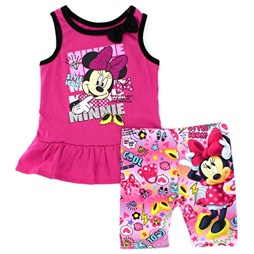 Disney Nickelodeon Character Toddler Girls Tank Top and Shorts Set (3T, Pink Minnie Style) (Minnie Outfit)