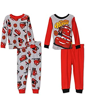 Disney Cars Hometown Heroes Cotton 4 Piece Pajamas, Toddler Sizes 2T-4T