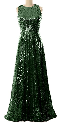 Sequin Simple Gown Dress Gown MACloth Bridesmaid Long Dunkelgrun Prom Elegant Evening 5n6WUB