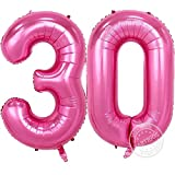 Partigos 40inch Gold 30th Number balloon Party Festival Birthday Decorations Jumbo foil helium balloons party supplies use them as Props for Photos (40inch Number Pink 30)