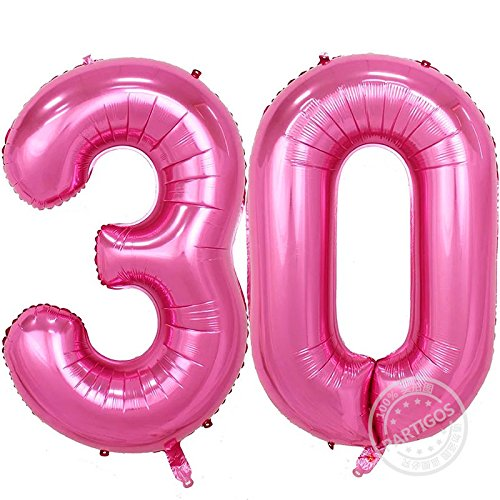 Partigos 40inch Gold 30th Number balloon Party Festival Birthday Decorations Jumbo foil helium balloons party supplies use them as Props for Photos (40inch Number Pink (30th Birthday Balloon)