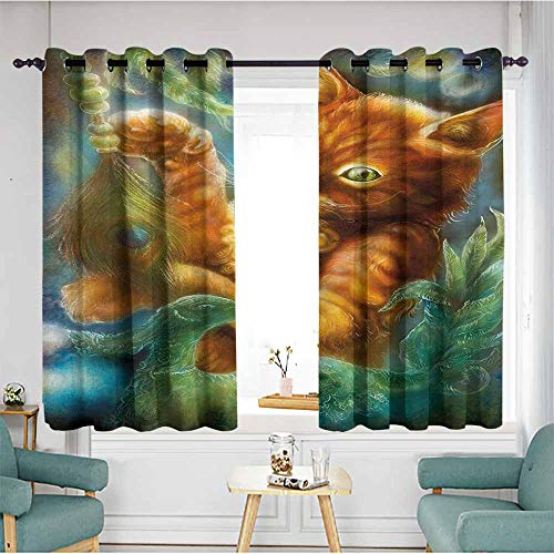 - AndyTours Sliding Door Curtains,Cats Fantasy Painting Radiant Orange Cartoon Cat Peacock Feather Bird Magical Dreamy,Darkening Thermal Insulated Blackout,W72x45L,Orange Green Blue
