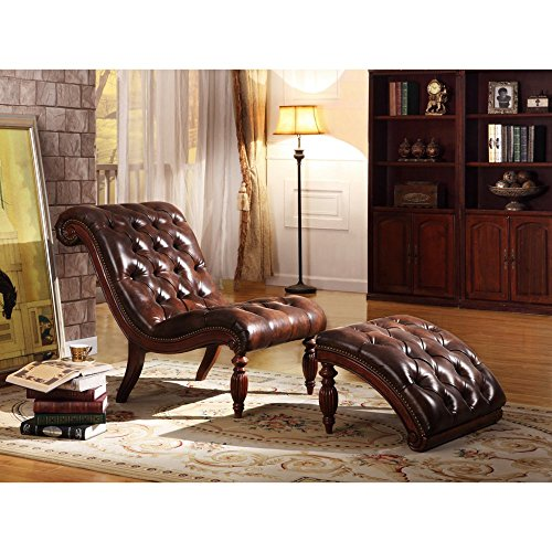 Button-Tufted Lounge Chair with Ottoman
