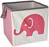 Bacati Elephants Storage Tote Basket, Pink/Grey, Small