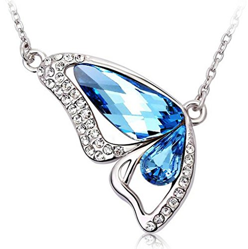 Butterfly Austrian Crystal - Infinite U Butterfly Wing Teardrop Waterdrop Austrian Crystal Silver Plated Pendant Necklace -2 Colour Options(Ocean Blue)