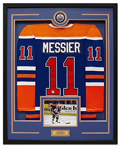 AJ Sports World Mark Messier Edmonton Oilers Signed CCM Mass 35x43 Framed Hockey Jersey