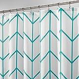 Teal Shower Curtain mDesign Herringbone Fabric Polyester Bathroom Shower Curtain, 72