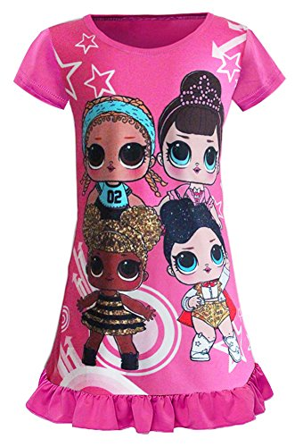 WNQY Surprise Princess Pajamas Little Girls Nightgown Dress for Doll Surprised (120/4-5Y, Rose)