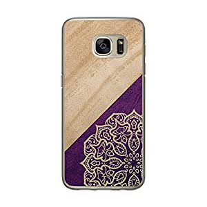 Loud Universe Samsung Galaxy S7 Madala Wood n Marble A 7 Printed Transparent Edge Case - Purple/Beige