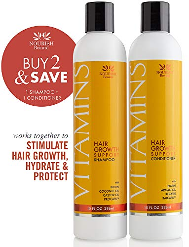 Natural Hair Growth Vitamins Shampoo Conditioner - with Argan Oil & Biotin for Hair Regrowth and Thickening, Hair Loss Treatment for Alopecia, Biotin Shampoo and Conditioner for Men and Women, 1 Pack