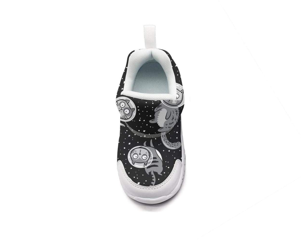 ONEYUAN Children Black Mini Space Astronaut Cat Kid Casual Lightweight Sport Shoes Sneakers Walking Athletic Shoes