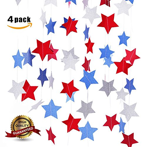 BELA SEASONAL PRODUCTS Star Garland Party Decorations (Patriotic) Red, White, and Blue Decorative Hanging Décor | Celebrate Birthday PJulyarties, Fourth of , American Holiday Streamers, 4 P ()
