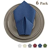 VEEYOO 20x20 Cloth Napkins Waffle Jacquard Polyester Spillproof for Wedding Party Restaurant Kitchen Dining Table Dinner Napkins, Set of 6, Navy Blue