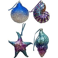 Beach Themed Christmas Ornaments Glass Art Coastal Sea Shell Christmas Ornaments – Set of 4 (Blue) beach themed christmas ornaments