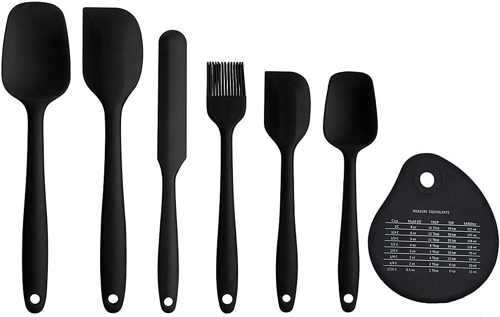 Silicone Spatula Set 7 Pieces Heat Resistant and Non-Stick One Piece Seamless Food Grade Baking Spatula Cream Scraper Kitchen Utensil for Cooking, Baking, Mixing and Cake Decorating