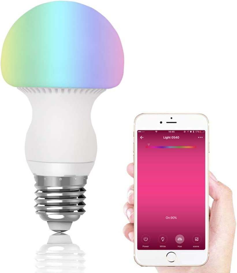 Dimmable White Light Ttzz SOLLED Bluetooth Smart Light Bulb LED RGBW Changing 8W E27//27 Socket Smartphone Remote Controlled Via App Connection by Bluetooth 4.0