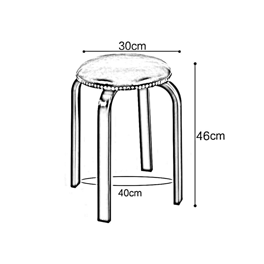 White Legs bluee YCSD YCSD YCSD Stool 6 PackStackable Round PU Stool Home Modern Minimalist Stainless Steel Rivet Sofa Stool Dining Table Stool Lightweight furniture (color   Black legs, Size   White) 2c6b4d