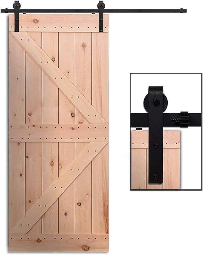 Herraje Puerta Corredera 229cm/7.5ft Negro, CCJH Riel Puerta Corredera Armario, Adecuado para 1 Puerta de 115 cm de Ancho [J Shape Hanger]: Amazon.es: Bricolaje y herramientas