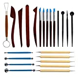 Polymer Clay Tools 23pcs,Yolyoo Modeling Clay Sculpting Tools, Wooden Dotting Tools,Rubber Tip Pens,Ball...