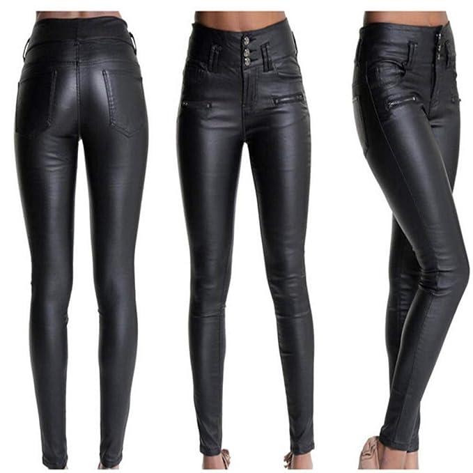 5e08143a1d08 Pantalones Cuero Negro para Mujer Sexy Push up Skinny Invierno Otoño ...