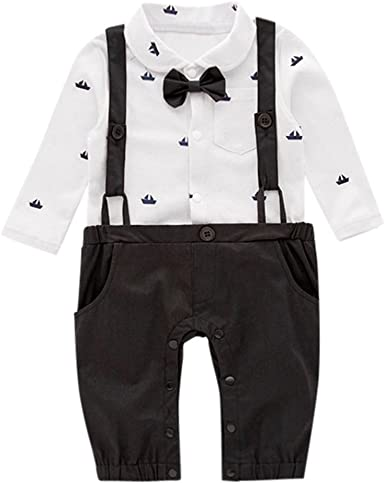 Staron Baby Boy Bowtie Gentleman Outfits Suit Short Sleeve Shirt+Overall Shorts Set